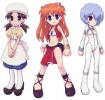 apron ayanami_rei bandeau bandeau_bikini bare_shoulders bloomers blue_eyes blue_hair bracelet brown_eyes brown_hair chibi cosplay covering_eyes cross-laced_footwear earrings electra electra_(cosplay) emoncake. freckles fushigi_no_umi_no_nadia hair_ornament hair_over_eyes hair_over_one_eye hairclip hat horaki_hikari ikolina ikolina_(cosplay) jewelry loincloth long_hair midriff nadia nadia_(cosplay) neck_ring necklace neon_genesis_evangelion pantyhose parody plugsuit red_eyes red_hair redhead sandals shoes short_hair simple_background souryuu_asuka_langley tubetop twintails vest