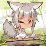 1girl animal_ear_fluff animal_ears bangs bare_arms bare_shoulders barefoot blush chibi closed_mouth commentary_request cutting_hair day dress eyebrows_visible_through_hair facial_mark fox_ears fox_girl fox_tail full_body grey_hair hair_between_eyes holding long_hair nose_blush on_ground one_eye_closed original outdoors red_eyes reflection sitting sleeveless sleeveless_dress solo tail very_long_hair wariza water wavy_mouth white_dress yuuji_(yukimimi)