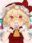 1girl ascot bangs blonde_hair blush bow breath commentary_request crystal eyebrows_visible_through_hair fang flandre_scarlet gotoh510 hair_between_eyes hands_on_own_cheeks hands_on_own_face hat hat_bow highres long_hair looking_at_viewer mob_cap one_side_up open_mouth pink_background puffy_short_sleeves puffy_sleeves red_bow red_eyes red_vest shirt short_sleeves simple_background solo touhou upper_body vest white_headwear white_shirt wings wrist_cuffs yellow_neckwear