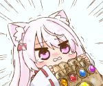 1girl animal_ear_fluff animal_ears bangs blush blush_stickers cat_ears chibi commentary emphasis_lines eyebrows_visible_through_hair grey_background hair_between_eyes hair_ornament hairclip holding infinity_gauntlet japanese_clothes kimono long_hair long_sleeves marvel nekoyama nijisanji nose_blush parted_lips pink_eyes pink_hair ribbon-trimmed_sleeves ribbon_trim shiina_yuika simple_background sleeves_past_wrists solo tears trembling upper_body virtual_youtuber white_kimono wide_sleeves