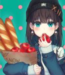1girl :o apple aqua_background aqua_eyes bag baguette bangs beanie black_headwear blue_jacket blunt_bangs blush bread brown_hair commentary_request denim denim_jacket ear_piercing earrings eating eyebrows_visible_through_hair food fruit hat holding holding_bag holding_food holding_fruit jacket jewelry long_hair long_sleeves looking_at_viewer off_shoulder open_clothes open_jacket open_mouth original piercing polka_dot polka_dot_background ran9u sleeves_past_wrists smiley_face solo sweater tareme upper_body upper_teeth white_sweater