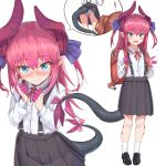 ! 2girls alternate_costume asymmetrical_horns backpack bag black_footwear black_skirt blue_eyes character_doll collared_shirt commentary_request curled_horns dragon_girl dragon_horns dragon_tail elizabeth_bathory_(fate) elizabeth_bathory_(fate)_(all) fate/grand_order fate_(series) fujimaru_ritsuka_(female) full_body highres horns loafers long_hair long_sleeves maru_(maru1625) multiple_girls neck_ribbon panties pantyshot pantyshot_(standing) pink_hair pleated_skirt pointy_ears red_ribbon ribbon school_bag school_uniform shirt shoes skirt socks standing striped striped_panties suspender_skirt suspenders tail underwear upskirt white_legwear white_shirt younger