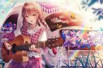 1girl :d absurdres animal bangs blue_flower blue_sky blurry blurry_foreground braid brown_hair bug butterfly car clouds commentary day depth_of_field eyebrows_visible_through_hair flower ground_vehicle guitar hair_ornament highres holding holding_instrument insect instrument junpaku_karen long_hair long_sleeves looking_at_viewer motor_vehicle music open_mouth original outdoors pink_flower playing_instrument puffy_long_sleeves puffy_sleeves purple_skirt rainbow red_eyes shirt sidelocks skirt sky smile solo symbol_commentary twin_braids white_flower white_shirt x_hair_ornament