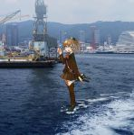 1girl annin_musou blazer blue_eyes brown_hair brown_legwear brown_skirt building commentary_request crane high_ponytail highres jacket kantai_collection kumano_(kantai_collection) long_hair looking_at_viewer machinery orange_neckwear photo_background pleated_skirt ponytail ship skirt solo tower turret walking walking_on_liquid watercraft waving