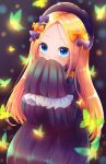 1girl abigail_williams_(fate/grand_order) bangs black_bow black_dress black_headwear blonde_hair blue_eyes blush bow bug butterfly covering_mouth dress fate/grand_order fate_(series) forehead frills hair_bow highres insect long_hair long_sleeves looking_at_viewer orange_bow parted_bangs ribbed_dress sleeves_past_fingers sleeves_past_wrists solo yuineko