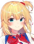 1girl akai_haato bangs blonde_hair blue_eyes blush closed_mouth collared_shirt eyebrows_visible_through_hair gyozanuko hair_between_eyes hair_ornament heart heart-shaped_pupils heart_hair_ornament highres hololive long_hair neck_ribbon one_side_up red_ribbon ribbon shirt simple_background smile solo striped striped_ribbon symbol-shaped_pupils upper_body virtual_youtuber white_background white_shirt