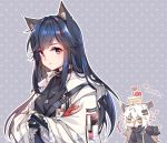 2girls animal_ears arknights arms_at_sides bangs black_hair black_shirt blue_jacket cake chinese commentary_request food food_on_head fur-trimmed_hood gloves green_eyes grey_background hair_ornament hairclip heart hood hood_down hooded_jacket jacket jewelry lappland_(arknights) long_sleeves looking_at_another multiple_girls necklace object_on_head parted_lips polka_dot polka_dot_background red_gloves sharmi1010 shirt sidelocks signature tactical_clothes texas_(arknights) translation_request white_hair white_jacket yellow_eyes
