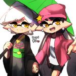 +_+ 2girls :d aori_(splatoon) beanie closed_mouth cousins domino_mask grey_kimono haori hat hat_ornament holding holding_hands holding_umbrella hotaru_(splatoon) jacket japanese_clothes kimono long_hair long_sleeves mask mole mole_under_eye multiple_girls obi open_clothes open_jacket open_mouth orange_eyes oriental_umbrella over_shoulder pink_headwear pink_jacket sash shirt short_hair smile splatoon_(series) splatoon_2 star tentacle_hair umbrella white_shirt wuju_(1198979953)