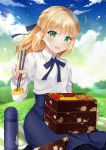 1girl :d ahoge artoria_pendragon_(all) blonde_hair blue_neckwear blue_skirt blue_sky bottle chopsticks clouds cloudy_sky collared_shirt commentary_request day fate/grand_order fate_(series) floral_print food grass green_eyes hair_ribbon half_updo high-waist_skirt holding long_hair long_sleeves looking_at_viewer naomi_(fantasia) neck_ribbon obentou open_mouth outdoors ribbon saber shirt sitting skirt sky smile solo star_(sky) starry_sky white_shirt