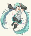 1girl :d absurdres argyle argyle_background armpits arms_up black_footwear black_legwear black_skirt blue_eyes blue_hair blue_nails blue_neckwear breasts commentary detached_sleeves english_commentary fingernails floating_hair full_body hatsune_miku highres jumping long_hair looking_at_viewer medium_breasts necktie number_tattoo open_mouth pleated_skirt shirt shoulder_tattoo simple_background skirt sleeveless sleeveless_shirt smile solo star tattoo teeth thigh-highs twintails upper_teeth velahka vocaloid watermark white_background white_shirt zettai_ryouiki