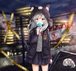 1girl animal animal_ear_fluff animal_ears animal_hood bangs belt belt_buckle black_jacket black_skirt blue_eyes blue_flower blue_rose blurry blurry_background blush bow brown_belt buckle building cat cat_ears caution_tape chain-link_fence clouds cloudy_sky collared_shirt commentary_request covered_mouth cowboy_shot depth_of_field eyebrows_visible_through_hair facial_mark fence fingernails flower hair_between_eyes heterochromia highres holding holding_flower hood hood_up hooded_jacket jacket keep_out lisu long_hair long_sleeves night night_sky open_clothes open_jacket original outdoors pink_nails pleated_skirt red_bow red_eyes rose shirt sign silver_hair skirt sky skyscraper solo sweater_vest white_cat white_shirt wind
