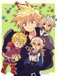 1girl 3boys armor blonde_hair blue_cape blue_eyes blush cape chibi cloud_strife dairantou!_smash_brothers_for_wii_u_and_3ds dragon_boy dragon_girl earrings female_my_unit_(fire_emblem_if) final_fantasy final_fantasy_vii final_fantasy_vii_advent_children fire_emblem fire_emblem_heroes fire_emblem_if gloves green_eyes hairband highres intelligent_systems jewelry kiriya_(552260) long_hair male_my_unit_(fire_emblem_if) mamkute monolith_soft multiple_boys my_unit_(fire_emblem_if) nintendo open_mouth pointy_ears short_hair shulk simple_background smile spiky_hair square_enix super_smash_bros. sword weapon white_hair xenoblade_(series) xenoblade_1