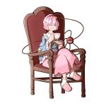 ;) blouse blue_blouse bobby_socks buttons chair cup eyeball floral_print frilled_shirt_collar frills hair_ornament hairband heart heart_hair_ornament heart_of_string highres holding holding_cup komeiji_satori long_skirt long_sleeves mefomefo one_eye_closed pink_eyes pink_hair pink_skirt ribbon-trimmed_collar ribbon_trim rose_print shoes short_hair skirt slippers smile socks teacup third_eye touhou white_background wide_sleeves