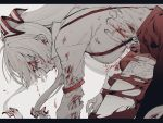 1girl angry bleeding blood blood_on_face bloody_clothes fujiwara_no_mokou hair_ribbon highres injury letterboxed long_hair maki_keigo pants profile red_eyes ribbon scratches solo suspenders torn_clothes torn_pants torn_sleeves touhou white_hair