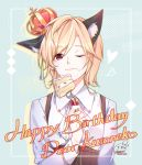 1boy 96neko :} animal_ears aqua_background ascot bangs blonde_hair brown_shorts cake cat_ears collared_shirt commentary_request crown food food_on_face fork glint happy_birthday high-waist_shorts holding holding_food holding_fork long_sleeves male_focus niconico one_eye_closed sharmi1010 shirt shorts signature slice_of_cake solo suspenders white_neckwear white_shirt