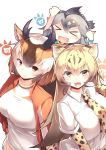 >_< 3girls :d absurdres animal_ear_fluff bangs black_hair blonde_hair brown_hair cheetah_(kemono_friends) cheetah_ears cheetah_print collared_shirt commentary elbow_gloves extra_ears eyebrows_visible_through_hair fang gloves gradient_hair greater_roadrunner_(kemono_friends) grey_hair hair_between_eyes highres horizontal_pupils horns jacket japari_symbol kanzakietc kemono_friends long_hair looking_at_viewer multicolored_hair multiple_girls necktie open_mouth orange_eyes print_gloves print_neckwear pronghorn_(kemono_friends) shirt simple_background smile track_jacket v-shaped_eyebrows white_background white_hair white_shirt xd yellow_eyes