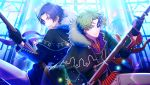 2boys alternate_costume antenna_hair bangs black_gloves bolt_action cape constricted_pupils enfield_(senjuushi) fur_collar fur_trim game_cg gloves glowing glowing_eyes green_eyes green_hair gun highres holding holding_gun holding_weapon lee-enfield looking_at_viewer male_focus mask multiple_boys non-web_source official_art parted_bangs purple_hair ribbon_bangs rifle screencap senjuushi:_the_thousand_noble_musketeers shirt short_hair smile snider_(senjuushi) striped striped_shirt violet_eyes weapon