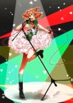 1girl :d black_footwear blonde_hair boots brown_hair collarbone cross cross_necklace freyja_wion green_eyes green_legwear highres holding_microphone_stand hood hood_down jewelry kneehighs layered_skirt leg_up looking_at_viewer macross macross_delta miniskirt multicolored_hair necklace off_shoulder open_mouth pote-mm red_scrunchie scrunchie short_hair skirt sleeveless smile solo standing standing_on_one_leg two-tone_hair white_skirt wrist_scrunchie