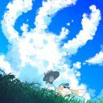 alternate_costume blue_sky clouds hana_(xenoblade) hat low_twintails mochimochi_(xseynao) nopon pointing purple_hair shirt sky straw_hat sunglasses tora_(xenoblade) twintails white_shirt xenoblade_(series) xenoblade_2