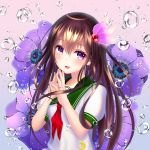 1girl blue_background brown_hair eyebrows_visible_through_hair fingers_together flower gradient gradient_background green_sailor_collar hair_between_eyes hair_ornament highres jewelry kantai_collection kisaragi_(kantai_collection) long_hair looking_at_viewer neckerchief open_mouth pink_background red_neckwear ribbon ring sailor_collar school_uniform serafuku shirt short_sleeves smile solo upper_body violet_eyes wabi_chazuke water_drop wedding_band wedding_ring white_shirt