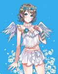 angel_wings blue_background blue_eyes blush bow flower grey_hair hand_on_own_chest head_wreath hyugo hyugo_nim love_live! love_live!_sunshine!! navel open_mouth shirt skirt stomach watanabe_you white_shirt white_skirt wings