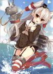 1girl :d absurdres amatsukaze_(kantai_collection) ameto_yuki black_panties blue_sky blush brown_eyes brown_hair buttons choker clenched_hand clouds cloudy_sky collarbone day dress fang fingernails garter_straps gloves hand_on_own_chest highres kantai_collection long_hair long_sleeves looking_at_viewer o_o ocean open_mouth outdoors panties red_legwear rensouhou-kun sailor_dress scan shiny shiny_hair short_dress side-tie_panties silver_hair single_glove sky smile sparkle striped striped_legwear thighs underwear water water_drop white_gloves