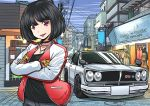 1girl back black_choker black_hair blue_sky building car choker crossed_arms day ground_vehicle jacket jewelry motor_vehicle necklace nissan_gt-r nissan_skyline original outdoors parted_lips pink_eyes power_lines shop sky smile solo standing vest yuyumomentum