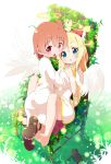 2girls angel_wings bangs blonde_hair blush bow brown_hair chair chestnut_mouth commentary dress eyebrows_visible_through_hair fang feathered_wings grass green_eyes hair_between_eyes hair_bow halo highres himesaka_noa hoshino_hinata hug long_hair looking_at_viewer makuran multiple_girls red_bow red_eyes sandal_removed sandals sitting watashi_ni_tenshi_ga_maiorita! white_dress wide_sleeves wings