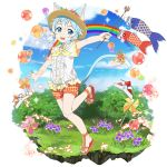 1girl :d animal_ears blue_eyes blue_hair blue_sky cat_ears cat_tail clouds day dress_shirt flower full_body hair_ribbon hat hat_flower highres holding holding_wand leg_up looking_at_viewer official_art open_mouth orange_flower orange_ribbon orange_shorts outdoors outstretched_arms plaid plaid_shorts ribbon shirt short_hair_with_long_locks short_shorts short_sleeves shorts sidelocks sinon_(sao-alo) sky smile solo standing standing_on_one_leg sun_hat sword_art_online tail tail_ribbon transparent_background wand white_ribbon white_shirt yellow_headwear yellow_neckwear