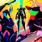 3boys body_armor claws gradient gradient_background gueira helmet horned_helmet lio_fotia mad_burnish male_focus meis_(promare) multiple_boys promare yojigazou