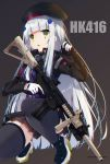 1girl 2019 assault_rifle bangs beret black_footwear black_headwear black_legwear blush boots breasts brown_background brown_skirt character_name commentary_request eyebrows_visible_through_hair facial_mark girls_frontline gloves green_eyes gun h&k_hk416 hair_ornament hand_up hat high_heel_boots high_heels highres hk416_(girls_frontline) holding holding_gun holding_weapon jacket ko_yu long_hair long_sleeves object_namesake parted_lips pleated_skirt purple_jacket rifle silver_hair simple_background skirt small_breasts solo squatting thigh-highs trigger_discipline twitter_username very_long_hair weapon white_gloves