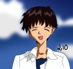 1boy 210 brown_hair closed_eyes cloud gainax ikari_shinji lio male_focus n_n neon_genesis_evangelion number open_mouth short_hair sky smile solo tagme upper_teeth white_shirt