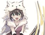 1girl artist_request bear brown_hair fur_trim green_eyes jewelry long_hair octopath_traveler open_mouth roaring short_hair simple_background smile solo sword tressa_(octopath_traveler) weapon white_background
