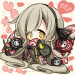 1girl 3others 7:08 absurdres chibi girls_frontline goliath_(girls_frontline) grey_hair hair_ribbon heart heart-shaped_pupils highres jacket long_hair multiple_others name_tag radio ribbon sangvis_ferri symbol-shaped_pupils ump40_(girls_frontline) yellow_eyes