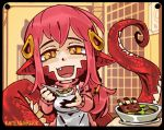 1girl :d apron bangs black_border bone border bowl breasts chibi dress fang feeding food hair_between_eyes hair_ornament hairclip happy holding holding_spoon incoming_food lamia long_hair long_sleeves looking_at_viewer miia_(monster_musume) monster_girl monster_musume_no_iru_nichijou open_mouth pointy_ears pov pov_feeding ramenwarwok redhead scales slit_pupils smile solo spoon sweater sweater_dress tail upper_body yellow_eyes
