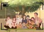 3girls 5boys alternate_form baby barefoot black-framed_eyewear black_hair black_skirt brown_hair closed_eyes crossed_legs dog family father_and_daughter father_and_son grass great_grandfather_(mirai) licking long_sleeves medium_hair mirai_no_mirai mother_and_daughter mother_and_son multiple_boys multiple_girls older oota_kun oota_mirai photo school_uniform shirt short_hair sitting skirt squatting time_paradox tree v white_shirt younger