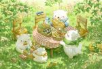 baguette bear bird black_eyes blush bow bowtie bread chair day food fork grass looking_at_another no_humans original outdoors picnic picnic_basket polar_bear red_bow red_neckwear scenery st.kuma traditional_media tree watercolor_(medium)