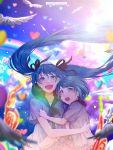 2girls :d aqua_eyes aqua_hair bird_wings blue_sky blurry carrying child clouds cloudy_sky commentary depth_of_field frilled_skirt frills hair_ribbon hatsune_miku heart lens_flare long_hair looking_at_viewer monicanc multiple_girls neck_ribbon open_mouth rainbow ribbon sailor_collar sekiranun_graffiti_(vocaloid) shiny_(module) shirt short_hair short_sleeves skirt sky smile song_name twintails twitter_username upper_body very_long_hair vocaloid white_shirt wings