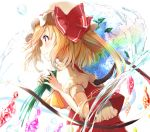 1girl bangs blonde_hair blush bow commentary_request crystal eyebrows_visible_through_hair flandre_scarlet from_side hands_up happiness_lilys hat hat_bow long_hair mob_cap one_side_up profile puffy_short_sleeves puffy_sleeves rainbow red_bow red_eyes red_skirt red_vest shirt short_sleeves skirt skirt_set solo touhou upper_body vest water_drop white_background white_headwear white_shirt wings