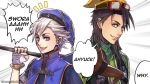 2boys artist_name black_hair blue_eyes blue_headwear donald_duck emphasis_lines english_text gloves goofy green_shirt grey_eyes hat kingdom_hearts long_hair looking_at_viewer male_focus multiple_boys nomura_tetsuya_(style) personification ribbed_sweater rosel-d shirt short_sleeves silver_hair staff sweater turtleneck white_gloves
