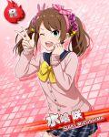blush brown_hair character_name dress green_eyes idolmaster idolmaster_side-m long_hair mizushima_saki smile twintails wink
