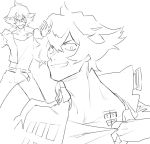 1boy collar_tug cropped_jacket flipped_hair grin gueira haiki_(tegusu) looking_at_viewer male_focus promare simple_background sketch smile studded_jacket tattoo white_background