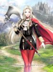1girl axe blonde_hair blue_eyes cape cravat edelgard_von_hresvelgr_(fire_emblem) fire_emblem fire_emblem:_fuukasetsugetsu fire_emblem_cipher gloves hair_ornament hair_ribbon long_hair looking_at_viewer pantyhose red_cape ribbon simple_background solo uniform weapon yamada_koutarou