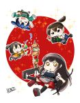 4girls akagi_(kantai_collection) apron black_hair black_legwear blue_hair blue_hakama bow_(weapon) brown_hair camera chibi commentary_request flight_deck food full_body gloves green_kimono hair_ribbon hakama hakama_skirt headband highres hiryuu_(kantai_collection) japanese_clothes kaga_(kantai_collection) kantai_collection kebab kimono kingguyver long_hair multiple_girls muneate one_side_up partly_fingerless_gloves party_popper red_hakama red_skirt remodel_(kantai_collection) ribbon side_ponytail single_glove skirt smile souryuu_(kantai_collection) straight_hair tasuki thigh-highs twintails weapon white_kimono yellow_eyes yellow_kimono yugake |_|