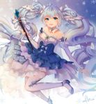 1girl 2019 :d absurdres blue_eyes blue_footwear blue_hair blue_skirt bow collarbone dated detached_collar detached_sleeves dress_shirt eyebrows_visible_through_hair floating_hair hatsune_miku highres holding holding_staff layered_skirt leg_up long_hair long_sleeves looking_at_viewer musical_note_hair_ornament open_mouth outstretched_arm plipa shirt signature skirt sleeveless sleeveless_shirt smile solo staff strapless_shirt striped_sleeves thigh-highs very_long_hair vocaloid white_bow white_legwear white_shirt white_sleeves yuki_miku