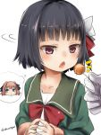 1girl akino_shuu black_hair black_ribbon bow brown_hair candy chestnut_mouth comma food food_in_mouth gloves green_jacket green_sailor_collar hachijou_(kantai_collection) hair_bow hair_ribbon holding holding_food holding_lollipop ishigaki_(kantai_collection) jacket kantai_collection lollipop long_sleeves looking_away looking_to_the_side mouth_hold open_mouth out_of_frame red_bow red_eyes ribbon sailor_collar short_hair simple_background solo_focus spoken_character steepled_fingers twitter_username upper_body white_background white_bow white_gloves