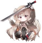 1girl arm_up bangs black_legwear braid brown_dress brown_hair brown_jacket chibi closed_mouth commentary_request dress eyebrows_visible_through_hair full_body hand_up holding holding_sword holding_weapon jacket knee_up kotatu_(akaki01aoki00) long_hair long_sleeves no_shoes one_side_up open_clothes open_jacket original red_eyes sheath simple_background smile solo sword thigh-highs unsheathed very_long_hair weapon white_background