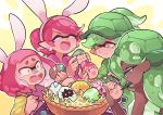 +_+ 4girls alternate_hair_color alternate_headwear animal_ears aori_(splatoon) bangs baseball_cap basket bespectacled blunt_bangs brown_eyes calligraphy_brush closed_eyes closed_mouth commentary constricted_pupils cousins dark_skin domino_mask earrings easter_egg egg english_commentary fake_animal_ears fangs frown glasses green_eyes green_hair green_headwear green_shirt hat hime_(splatoon) holding holding_brush holding_egg holding_pen hotaru_(splatoon) iida_(splatoon) jewelry laughing leaning_forward long_sleeves mask mole mole_under_eye mole_under_mouth multicolored multicolored_skin multiple_girls open_mouth paint_on_face paintbrush painting pen pink_hair pink_shirt rabbit_ears shirt sleeveless sleeveless_shirt smile splatoon_(series) splatoon_2 tearing_up tentacle_hair turtle_shell wong_ying_chee