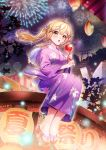 1girl :o ahoge bang_dream! bangs blonde_hair blurry blush bokeh candy_apple commentary_request depth_of_field fan festival fireworks floral_print flower food hair_flower hair_ornament highres holding holding_food ichigaya_arisa japanese_clothes kimono lantern long_hair long_sleeves looking_at_viewer majiang night outdoors paper_fan paper_lantern purple_kimono sandals sitting solo stairs toes torii twintails uchiwa wide_sleeves x_hair_ornament yellow_eyes