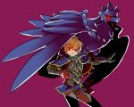 1boy armor baka_mandy bird black_sclera blonde_hair cape claws corviknight crow european_clothes fire_emblem fire_emblem_if full_body gloves hairband leon_(fire_emblem_if) looking_at_viewer male_focus pokemon pokemon_(creature) pokemon_(game) pokemon_swsh red_eyes sharp_claws short_hair simple_background solo standing